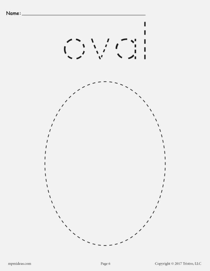 Oval Tracing Worksheet Printable Tracing Shapes