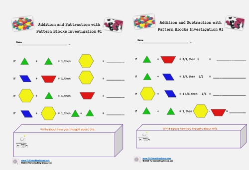 Pattern Block Fractions Anyone by Tljconsulting