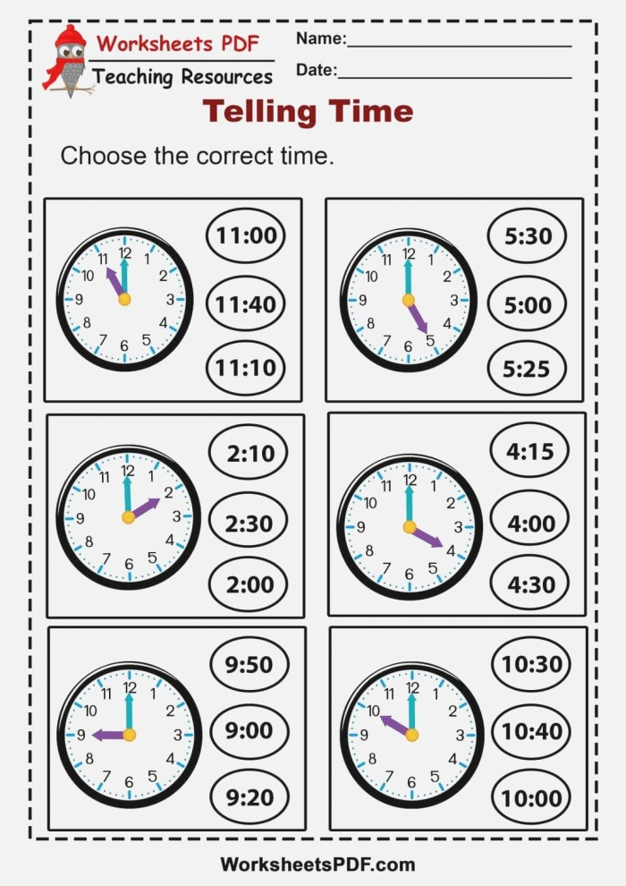 Pdf Worksheets Telling the Time