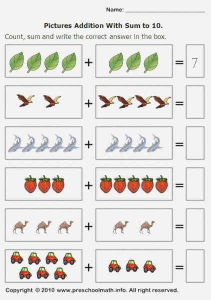 Picture Addition with Sum to 10 Worksheet for Pre K 1st