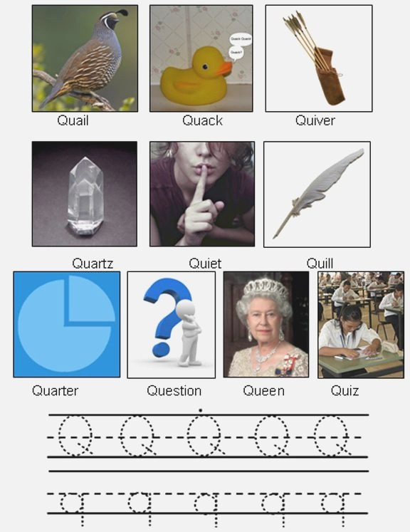 Picture Of Objects Starting with Letter Q