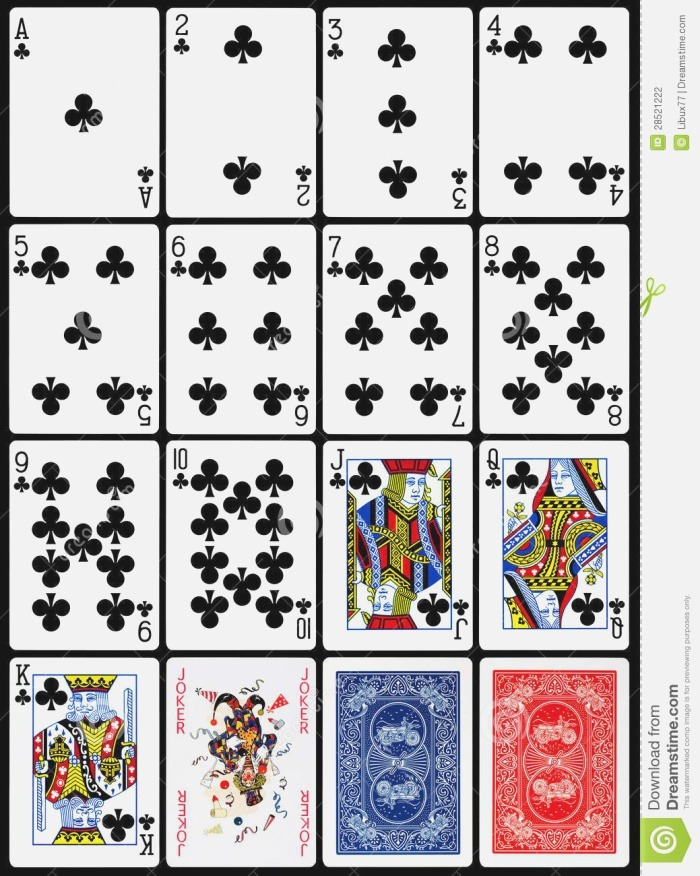 Playing Cards Clubs Suit Stock Graphy Image