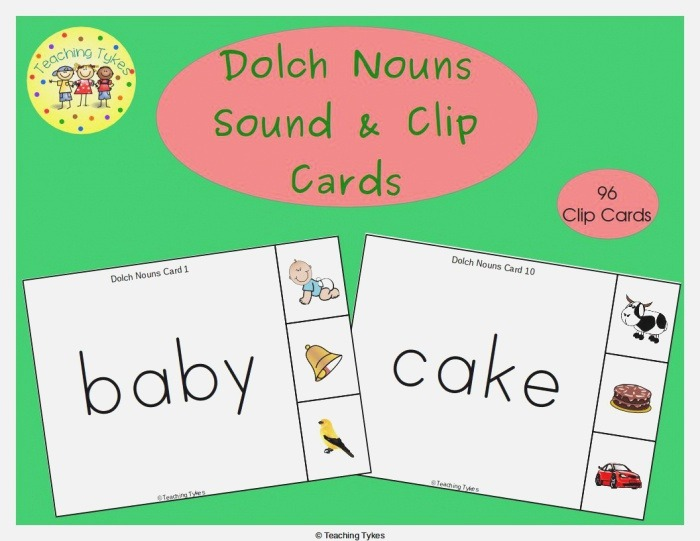 Practice 96 Dolch Nouns Each Card is A Dolch Noun and