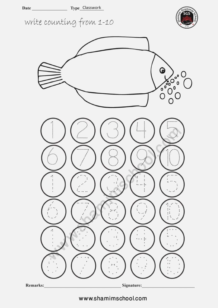 Pre School Counting Worksheet On Tracing Dots Number 1 10