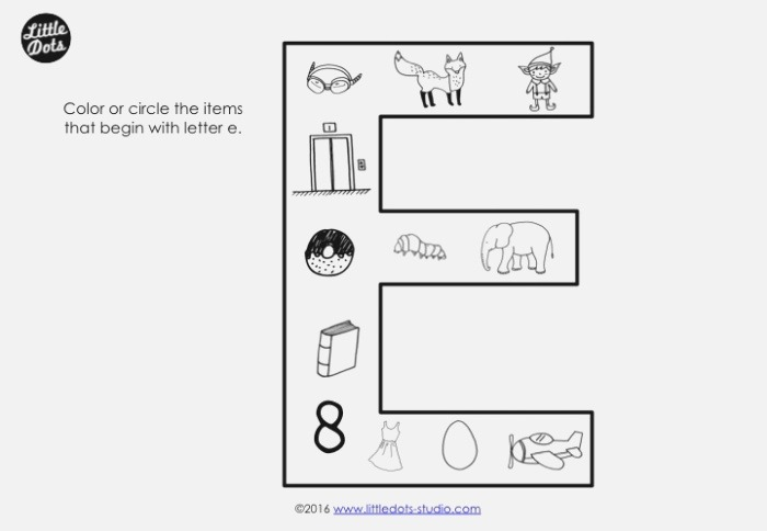 Preschool Letter E Activities and Worksheets