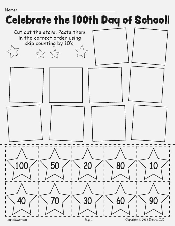 Printable 100th Day Of School Skip Counting by 10 S