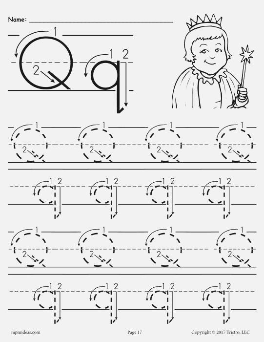 Printable Letter Q Tracing Worksheet with Number and Arrow