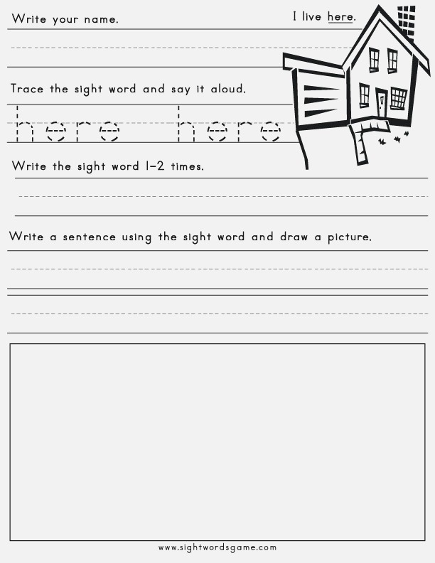 Printable Sight Word Worksheets Sight Words Reading
