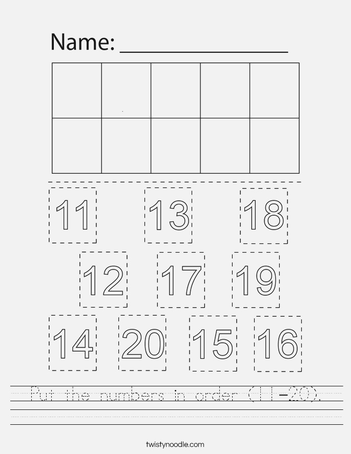 Put the Numbers In order 11 20 Worksheet Twisty Noodle