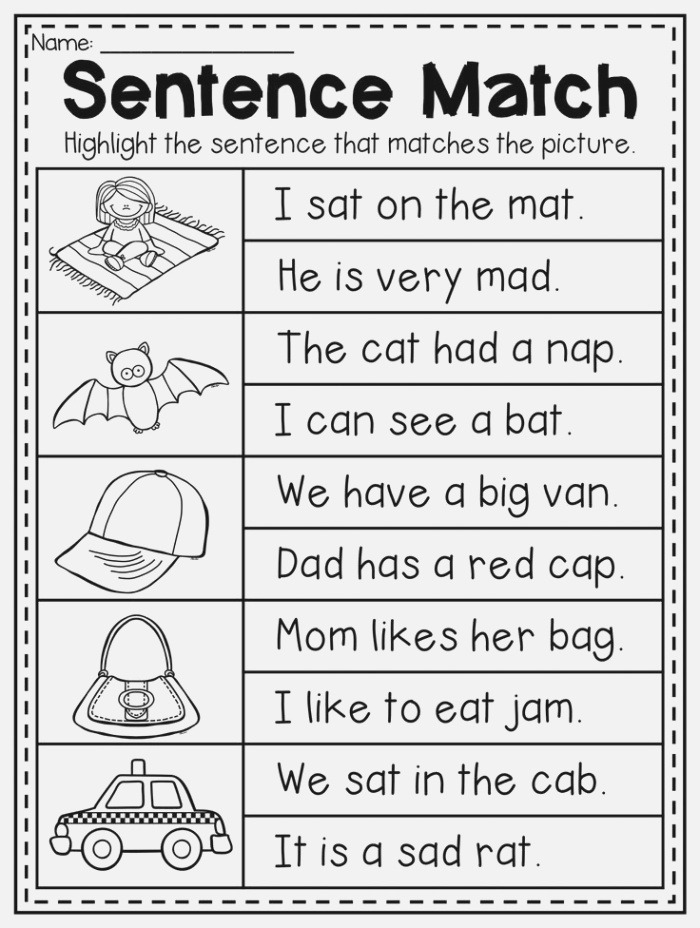 Read and Match Cvc Sentence Worksheet This Packet is