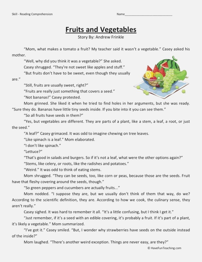 Reading Prehension Worksheet Fruits and Ve Ables