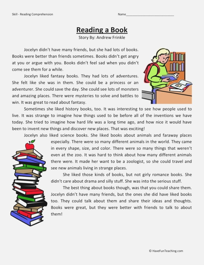 Reading Prehension Worksheet Reading A Book