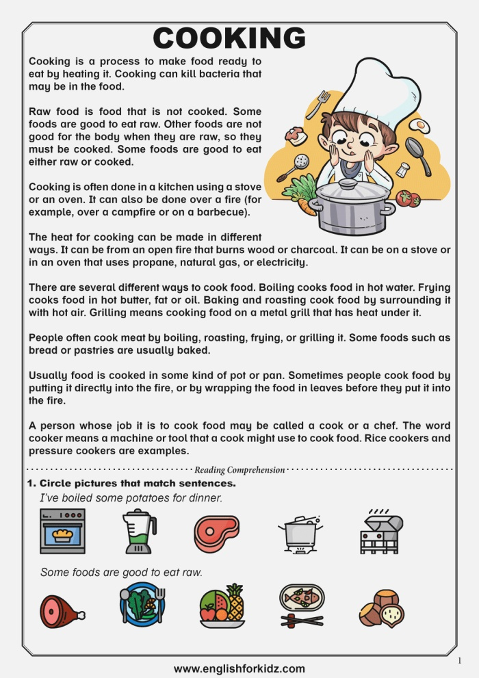 Reading Prehension Worksheets Food and Cooking