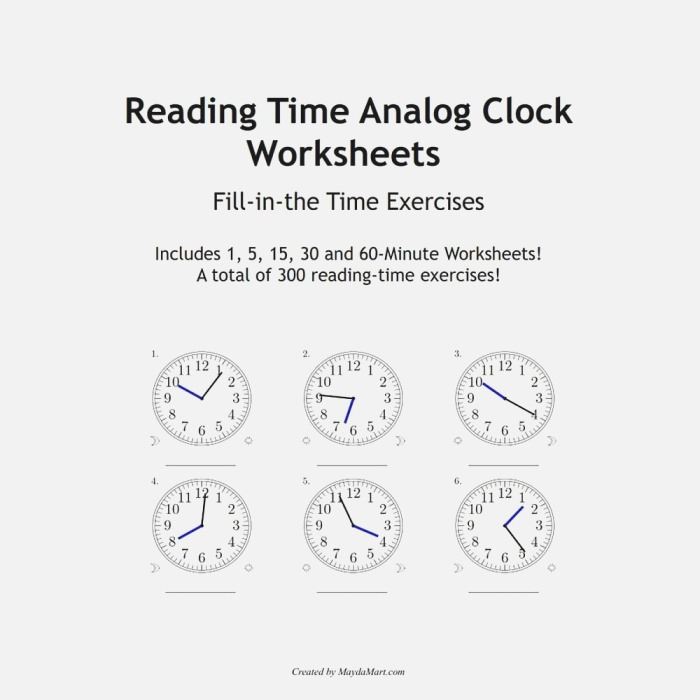 Reading Time Analog Clock Worksheets Educational Fill In