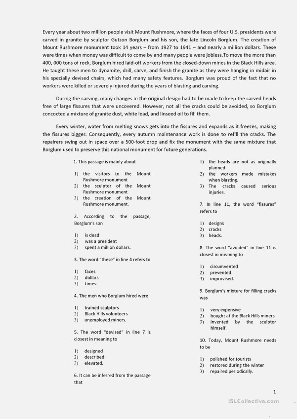 Reading with 10 Multiple Choice Questions Worksheet Free