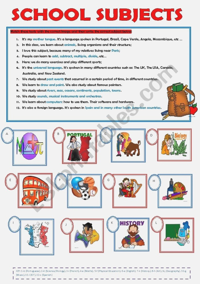 School Subjects Esl Worksheet by ascincoquinas