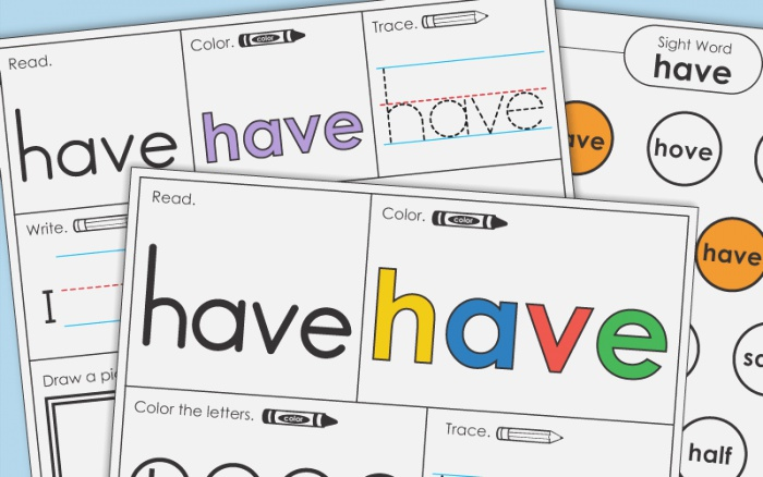 Sight Word Have Worksheets