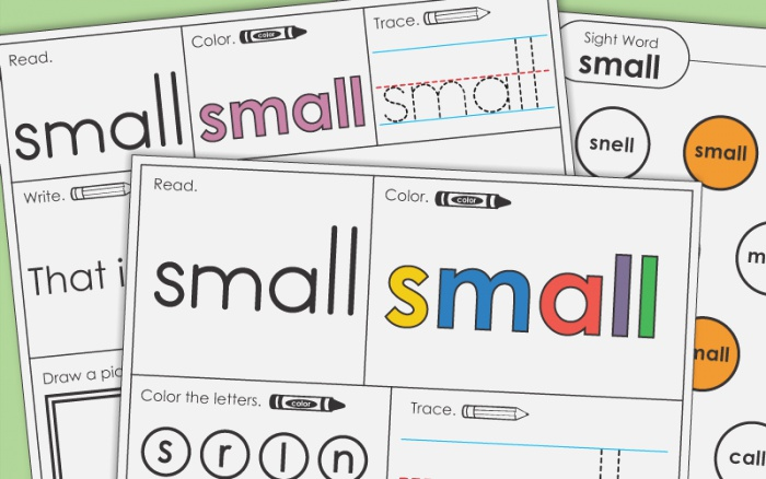 Sight Word Small Worksheets