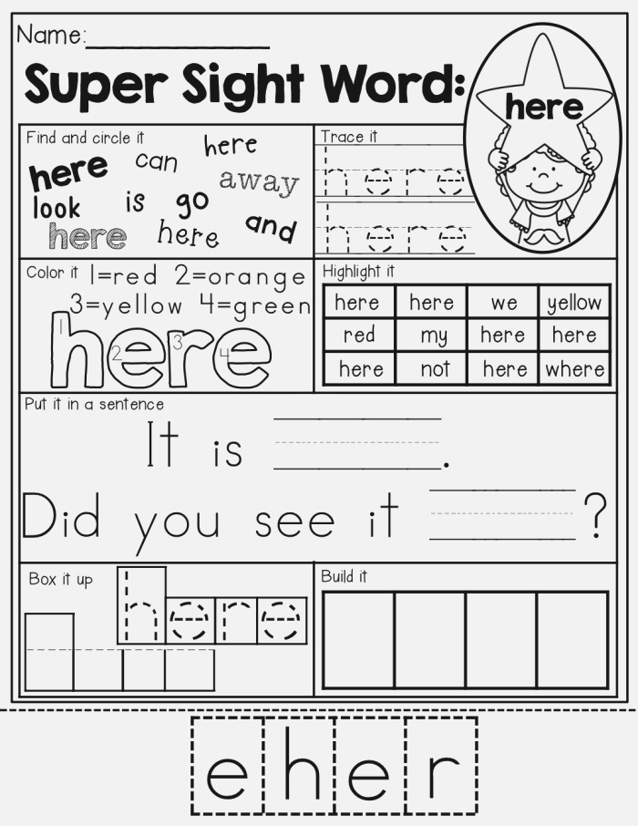 Sight Word Super Stars with Images