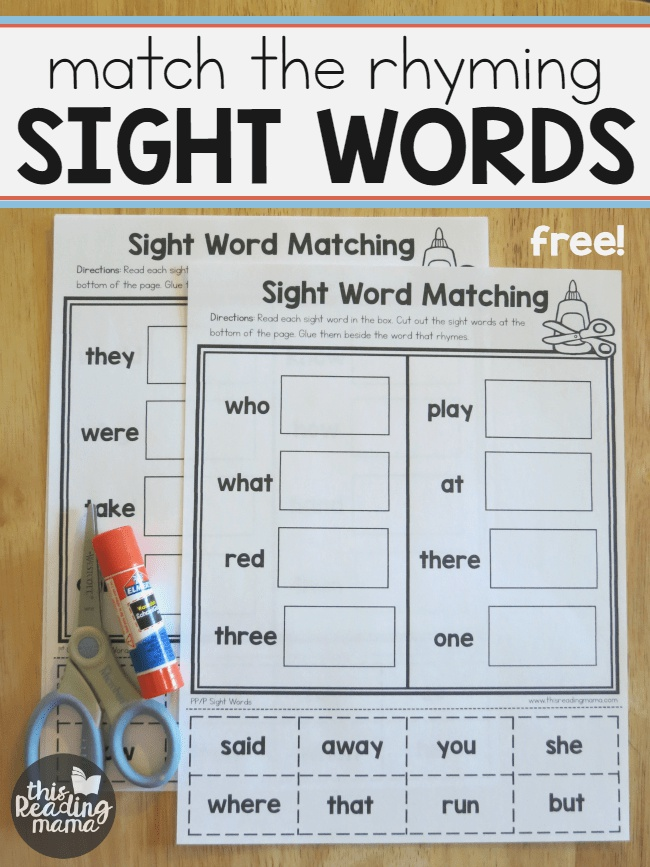 Sight Word Worksheets Match the Rhyming Word This