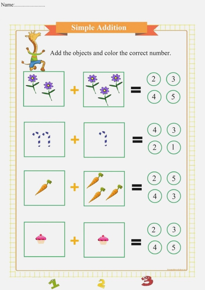 Simple Addition Worksheets for