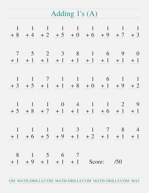 Single Digit Addition 50 Vertical Questions Adding