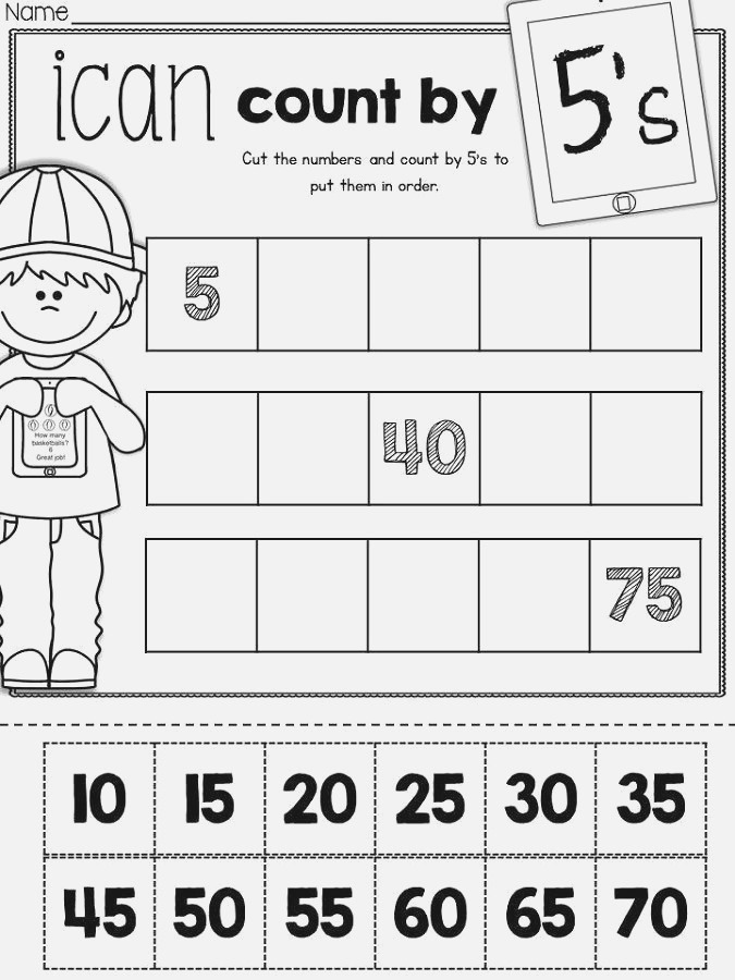 Skip Count by 5 Worksheet Math