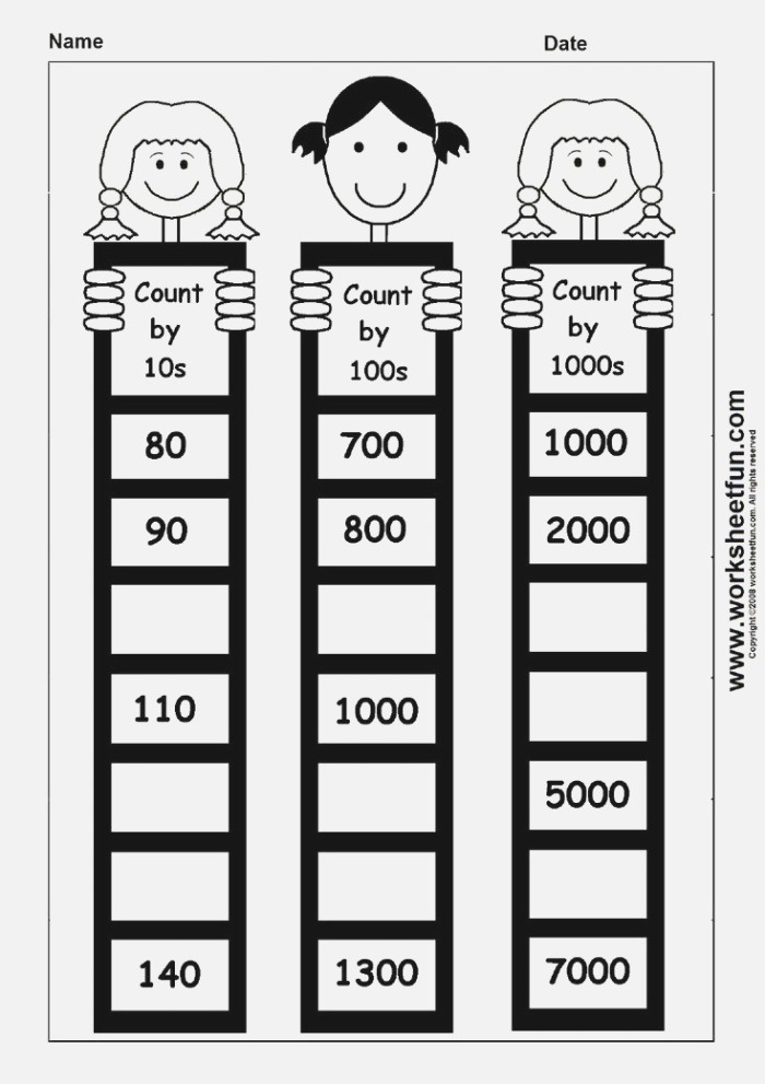 Skip Counting by 10 100 and 1000 1 Worksheet