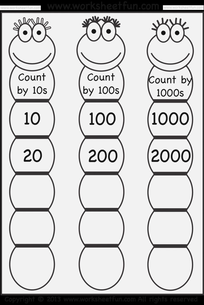 Skip Counting by 10 100 and 1000 Free Printable