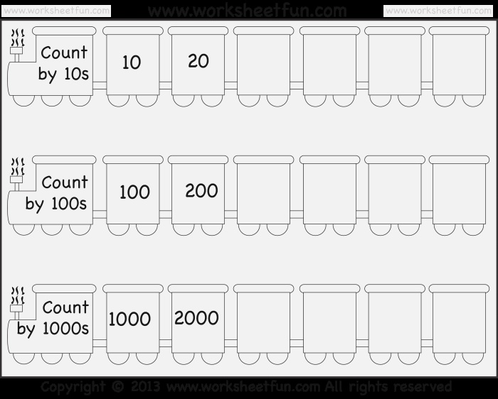 Skip Counting by 10 100 and 1000 – Worksheet Free