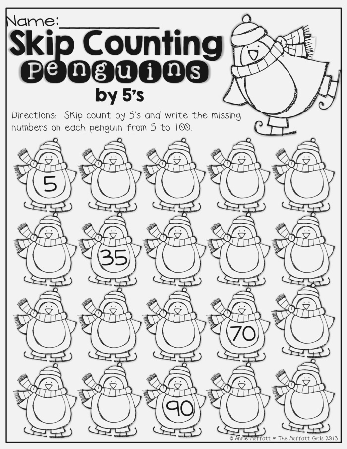 Skip Counting Penguins Count by 5 S