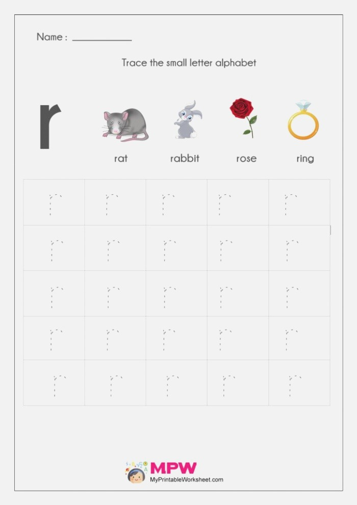 Small Letter Alphabets Tracing and Writing Worksheets