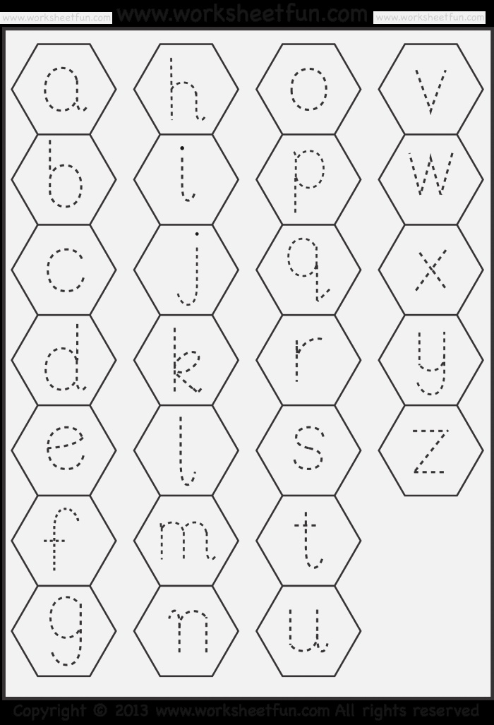 Small Letter Tracing – Lowercase – Worksheet – Hexagon
