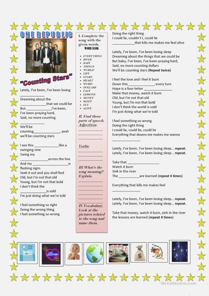 song Counting Stars English Esl Worksheets for Distance