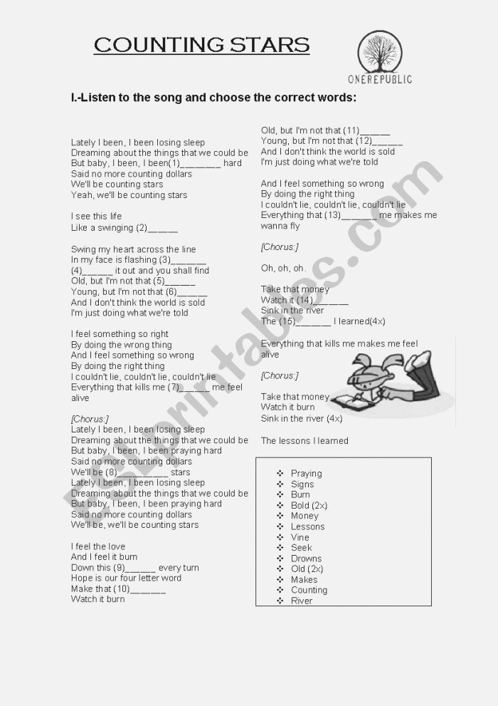 song Counting Stars Esl Worksheet by Lucia022