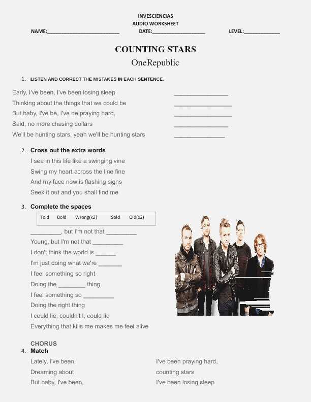 song Worksheet Counting Stars