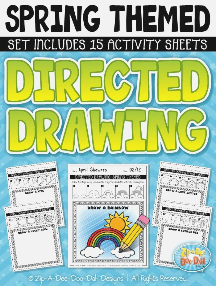 Spring themed Directed Drawing Activity Pack — Includes 15