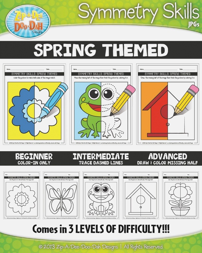 Spring themed Symmetry Skill Activity Pack — Includes 15
