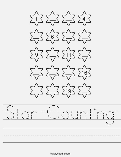 Star Counting Worksheet Twisty Noodle