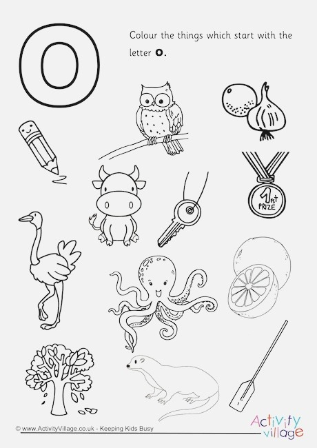 Start with the Letter O Colouring Page