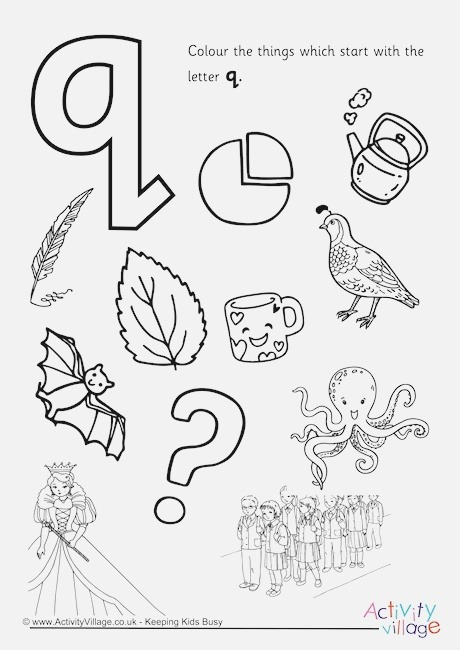 Start with the Letter Q Colouring Page