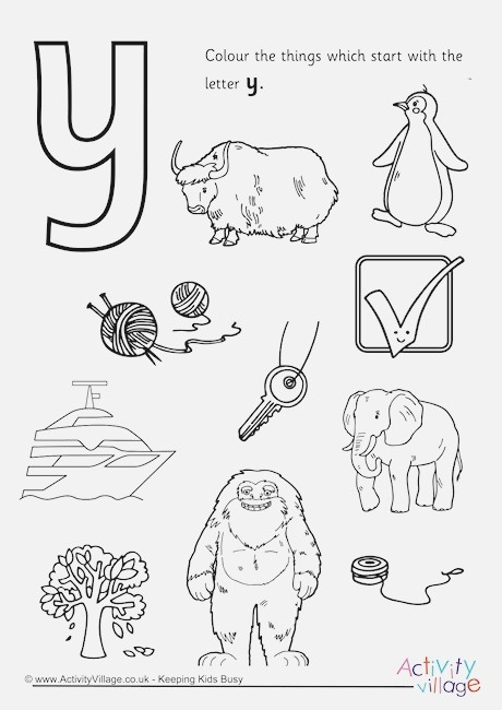 Start with the Letter Y Colouring Page