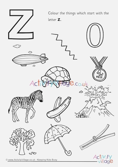 Start with the Letter Z Colouring Page