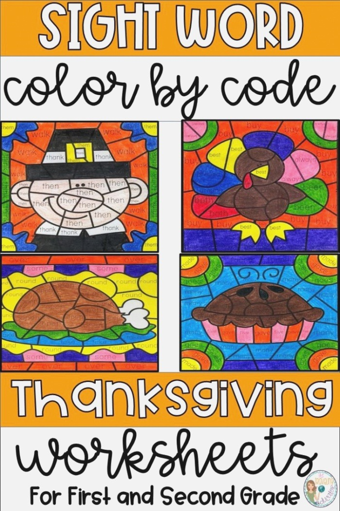 Thanksgiving Color by Sight Word for First and Second