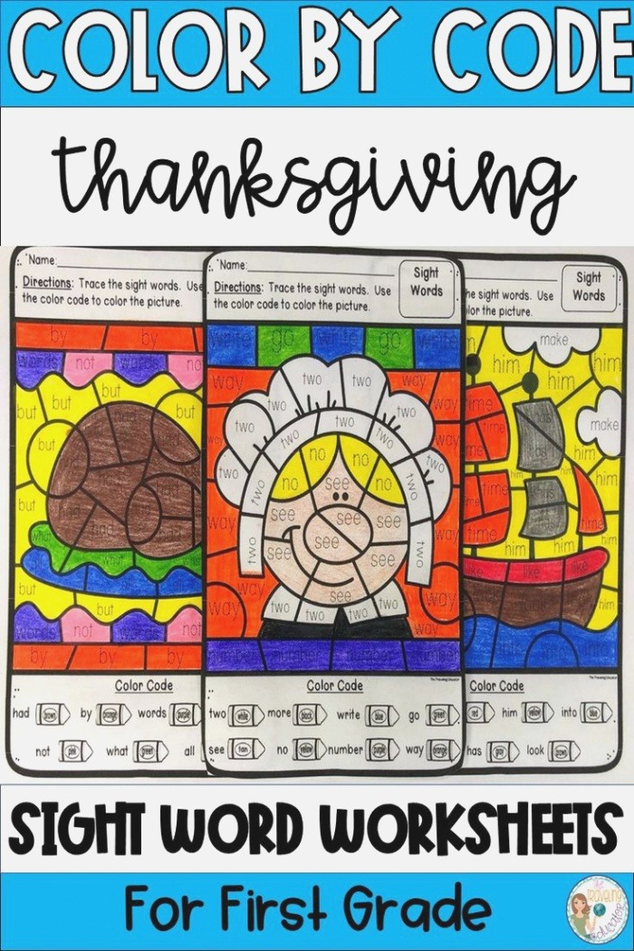Thanksgiving Coloring Pages Color by Sight Words for