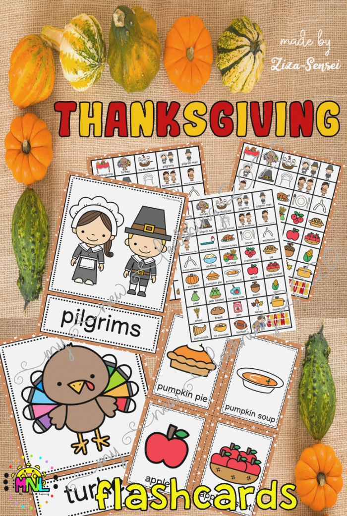 Thanksgiving Flashcards Color Ly