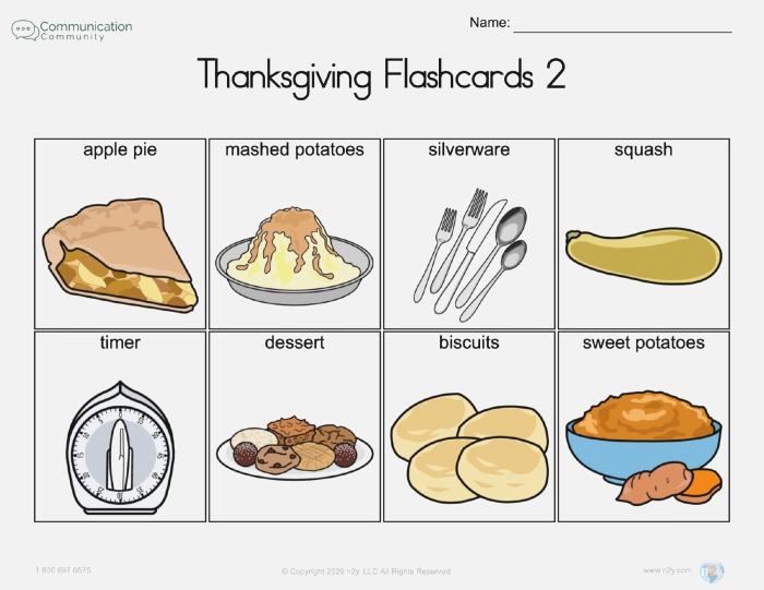 Thanksgiving Flashcards [therapy Classroom or Home Activity]