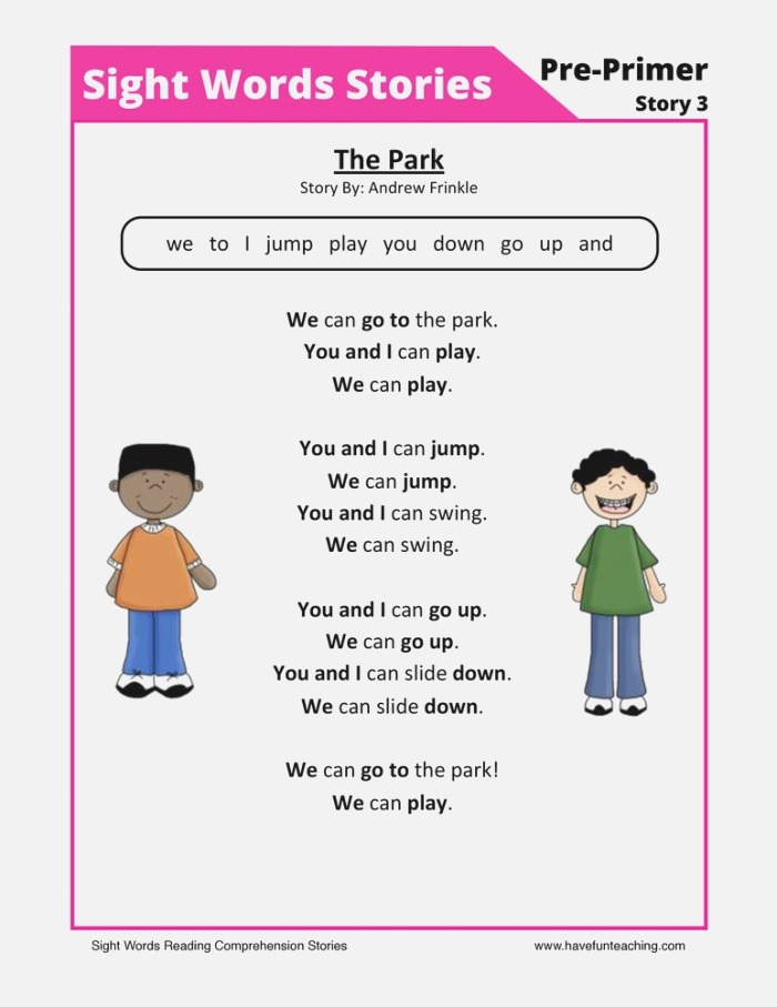 the Pack Pre Primer Sight Words Reading Prehension