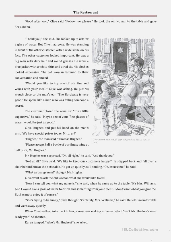 the Restaurant Short Story and Practice Worksheet Free