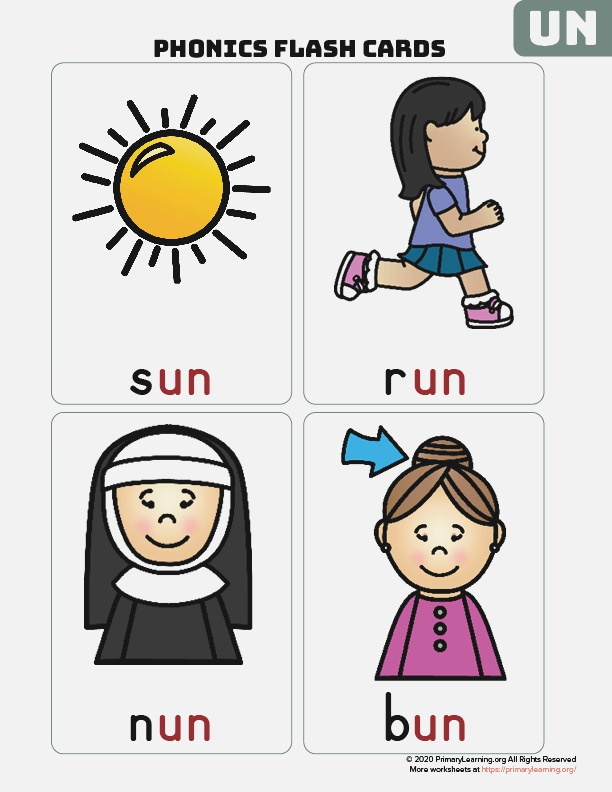 the Un Word Family Flash Cards